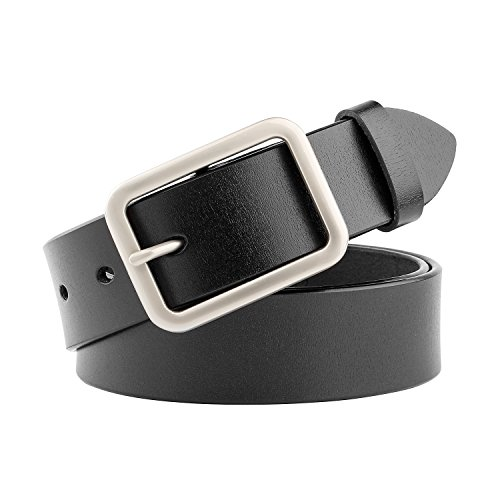 Leather Ladies Jeans (Women Leather Belt for Jeans Pants Dresses Black Ladies Waist Belt With Pin Buckle)