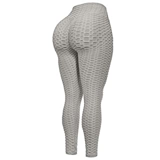 Beyondfab Women's High Waist Textured Butt Lifting Slimming Workout Leggings Tights Light Grey SM