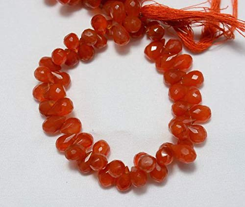 KALISA GEMS Beads Gemstone Carnelian Tear Drops Beads, Carnelian Faceted Tear Drops Briolettes, Gemstone for Jewelry, 6x10mm Approx, 7.5 Inch ()