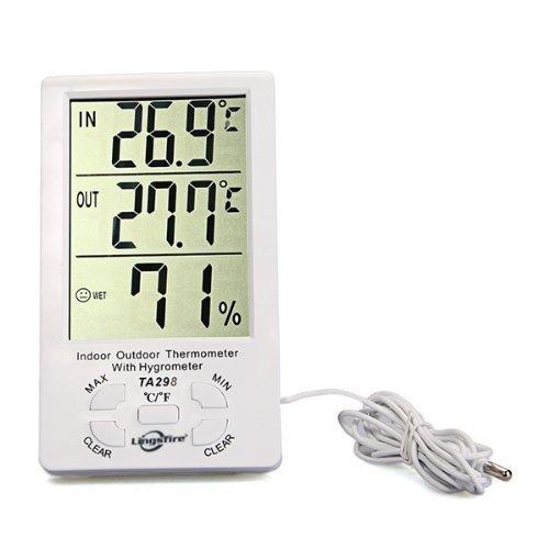 LingsFire® цифровой ЖК Indoor / Outdoor Термометр Влажность гигрометр с Мин / макс значения и часы