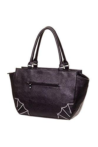 Banned–Gothic Mujer Bolso murciélagos y araña redes–White Bats bolso