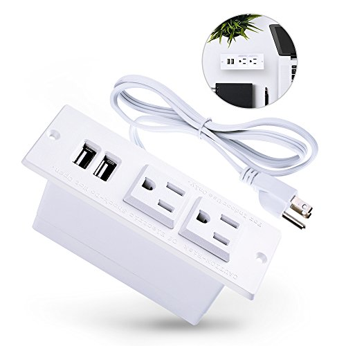 - Conference Recessed Power Strip Socket,Power Grommet,Desktop Charging Station with 2-Outlet and 2 USB Ports (white)