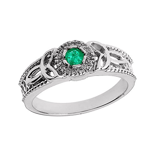 14k White Gold Emerald and Diamond Ladies Trinity Knot Proposal Ring (Size - Knot Diamond Trinity Ring