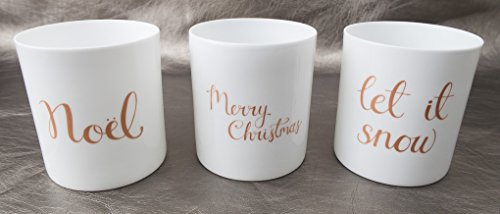 Set of 3 Ceramic Holiday Votive Holders Noel, Let it snow, Merry Christmas Bloomingville 3.5