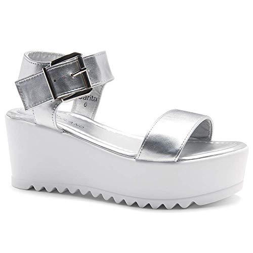 (Herstyle Carita Women's Open Toe Ankle Strap Platform Wedge Sandals Silver 7.0)