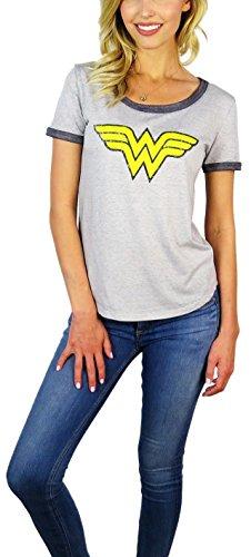 DC Comics Womens Wonder Woman Burnout Ringer Tee (Large, WW Grey)