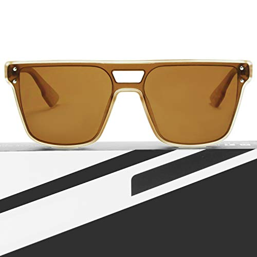 V BY VYE Designer Square Women's Sunglasses – Trendy Fashion Glasses with UV Sun Protection – Curfew – Nude