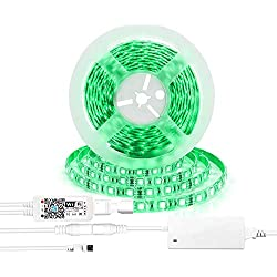 AEGOOL LED Strip Lights, WiFi Wireless Smart Phone Remote Music Controlled Rope Lighting Kit, 16.4ft DC12V 300LEDs 5050 RGB Dimmable Waterproof Color Changing Lighting via Alexa IFTTT Google Home iOS