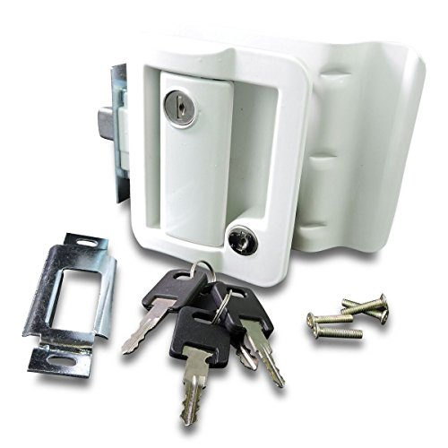 (RV Travel Trailer Entry Door Lock Polar White Paddle Deadbolt )