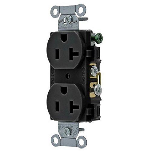 Receptacle, Duplex, 20A, 5-20R, 125V, Black ()