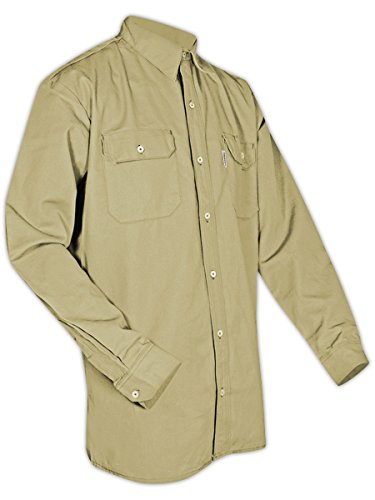 Magid Glove & Safety SBK70DHL SBK70DH/SBN70DH Dual-Hazard 7.0 oz. FR 88/12 Work Shirts, Khaki, Large, Flame Resistant Cotton Blend by Magid Glove & Safety