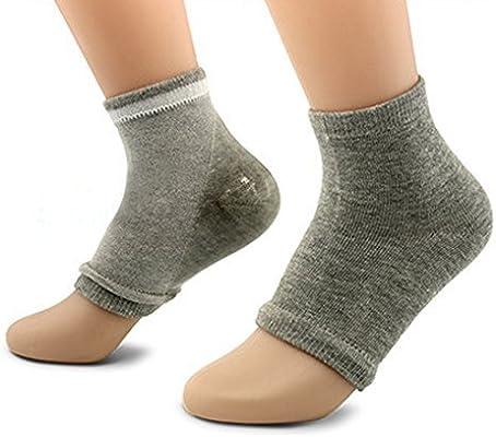 eDealMax 1 par Punta abierta de la piel Mangas Exfoliante Hidratante seco Spa cómodo del talón del Gel calcetines gris claro