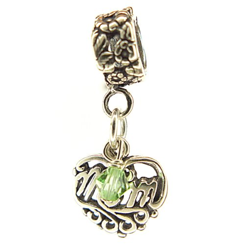 Mom Filigree Heart Peridot Crystal August Birthstone Sterling Silver Dangle Family Charm