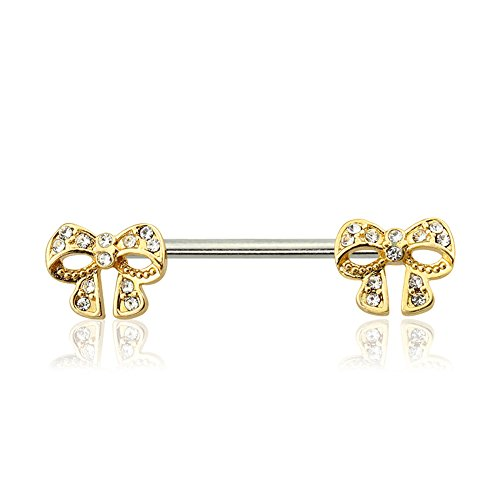 Dynamique 316L Surgical Steel Gem Paved Gold Bow Nipple Bar (Sold Per Pair or Per Piece)