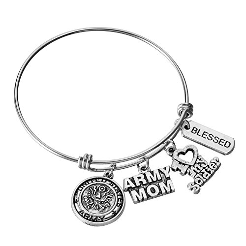 - US United States Army Mom Bracelet Expandable Wire Bangle I Love My Solider Charm Birthday Jewelry Gifts for Women
