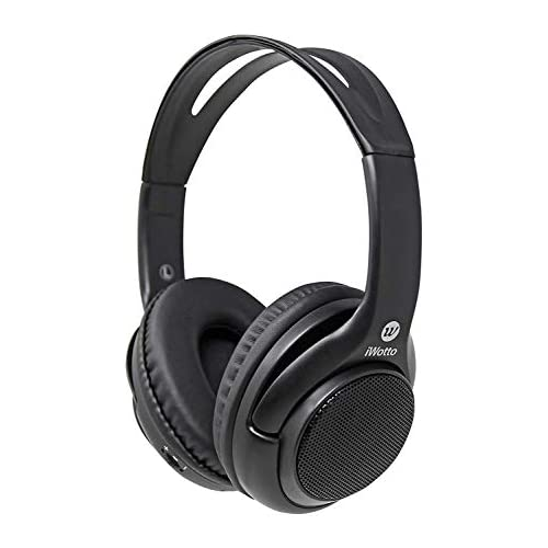 chollos oferta descuentos barato iWotto Auriculares Altavoces Bluetooth 2 en 1 Inalámbricos Stereo Plegables Manos Libres Color Negro Calidad Sonido sobre Mesa Ergonómicos Aislantes de Sonido Exterior