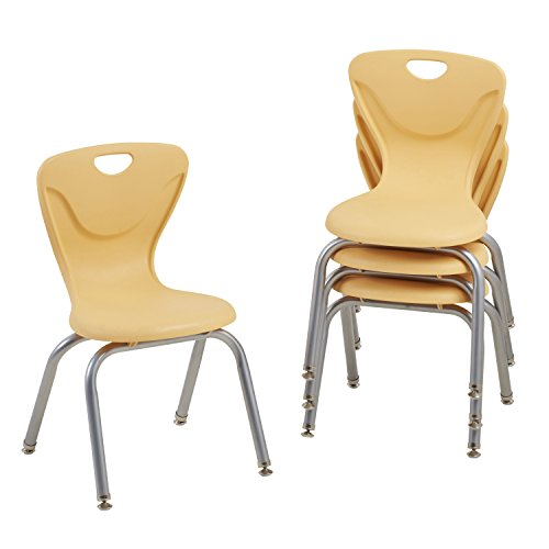"""UPC 763960607459, ECR4Kids 14"""" Contour School Stacking Student Chair, Molded, Squash (Set of 4)"""
