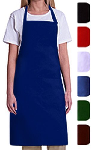 Bib Aprons Mhf Aprons 1 Piece Pack 2 Waist Pockets  New Spun Poly Commercial Restaurant Kitchen  Royal Blue