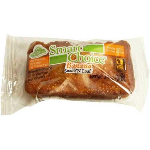 - Smart Choice Wholegrain Banana Snack N Loaves, 2 Ounce - 72 per case.