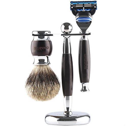 "Shaving Set,Anbbas 3in1 Pure Badger Hair Shaving Brush and Razor Stand Holder 6.1"",Manual Shaving Cartridge Razor Handle Kit for Men Wet Shave,Alloy with Solid Ebony Wood Design,Fashion Gift Choice"