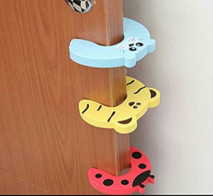 Amazon.com : 2 Pcs.Door Safety Stopper Door Guard Pinch Stopper with 6 Pack Decorative Cabinet Guards Plus 2 Pcs. Soft Cotton Knee Protector Pad for ...