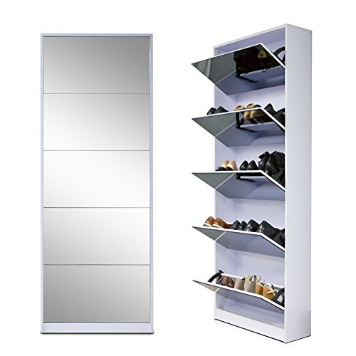 Organizedlife White Wooden Shoe Cabinet Mirror Shoe Organizer with with 5 Racks by Organizedlife