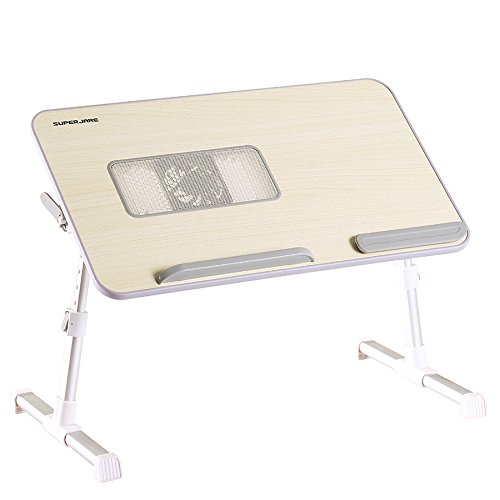 Adjustable Laptop Table Built-in Cooling Fan, Superjare Portable Standing Desk, Notebook Stand Reading Holder For Couch Floor, Bed Tray Table with Foldable Legs - Beige Image