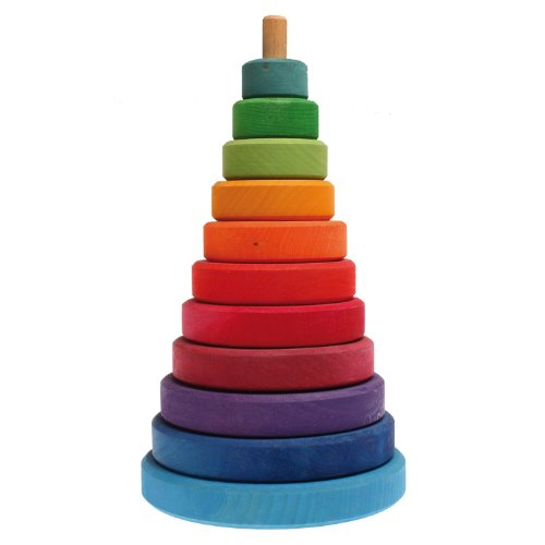 (Grimm's Large Wooden Conical Stacking Tower, 11-Piece Rainbow Colored Stacker, Made in Germany)