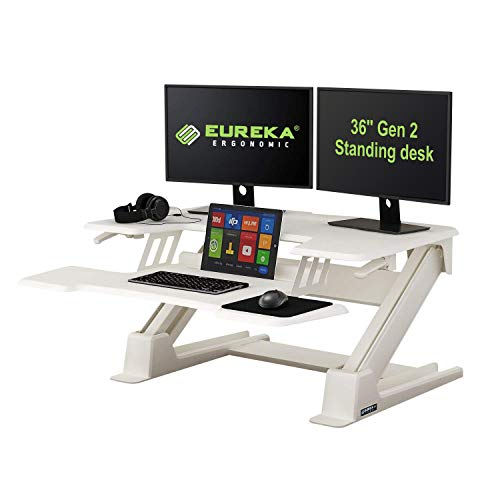 Eureka Ergonomic Sit Stand Desk 36'' Height-Adjustable Standing Desk Converter Gen2 - White