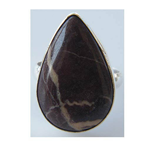 Surbhi Crafts Coffee Jasper Ring Silver Plated Ring Handmade Designer Ring Jewelry Adjustable Ring (Ring Size 8.5 USA) AH-10825 ()
