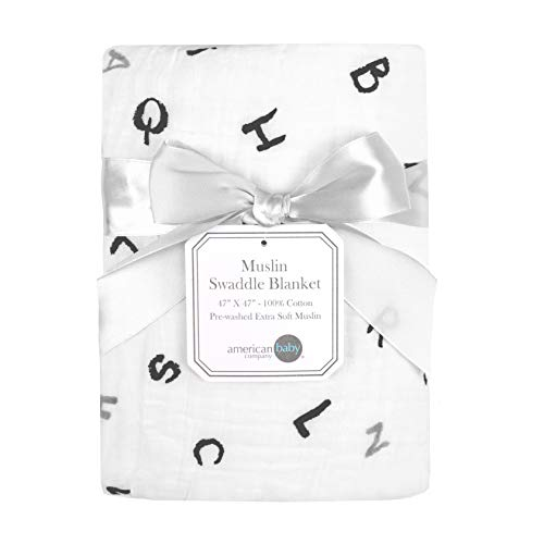"American Baby Company 100% Natural Cotton Muslin Swaddle Blanket, Alphabet, 47"" x 47"", Soft Breathable, for Boys and Girls"