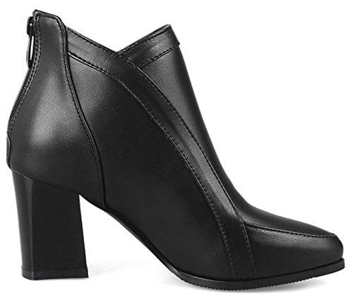 Aisun Womens Mode Habillé Zip Up Milieu Bloc Cheville Bottines Bout Pointu Bottines Chaussures Avec Fermeture À Glissière Noir