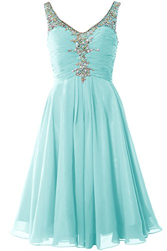 Dress Aqua Homcoming Women Party Short Crystal Evening MACloth Neck Gown Cocktail V UfBxa