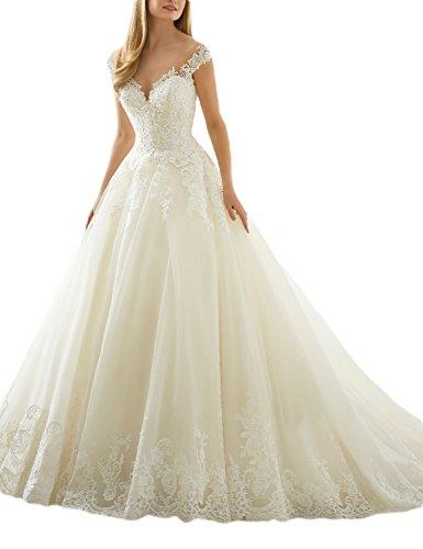 ivory a line wedding dress - 3