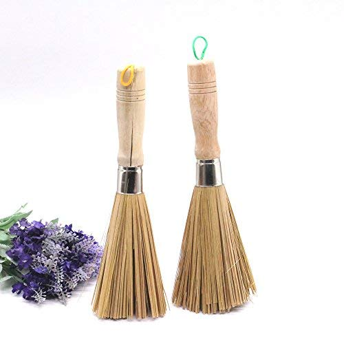 IDS Bamboo Kitchen Wok Brush fpr Pan Pot Cleaning Brush With Long Wooden Handle, Pack of 2 ()