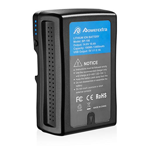 Powerextra 190Wh (13400mAh) V Mount/V-Lock Battery Compatible with Sony Camera Camcorder Broadcast Replacement Brick for DSLR ()