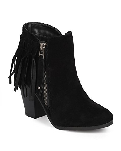 Breckelles Gail-26 Womens Belted Chunky Stacked Heel Ankle Booties Black (8) (Belted Bootie)