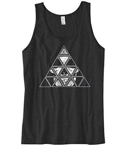 Cybertela Men's All Seeing Eye Of Providence Skull Pyramid Tank Top (Black, X-Large) - Black Pyramid Shape