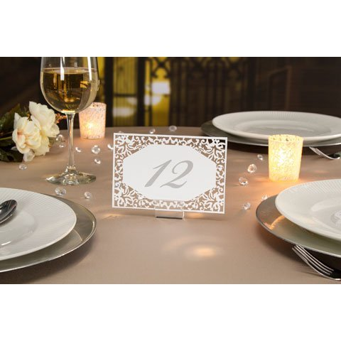 David Tutera™ Illusion Die Cut Lace Paper Table Number Cards - 25 (Wedding Table Number Cards)