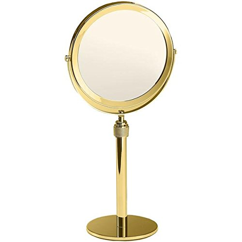 Walther Table Height Adjustable Cosmetic Makeup 5x Magnifying Mirror, Polished Gold