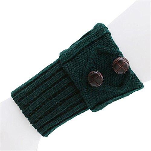 LnLyin Women's Short Boots Socks Crochet Knitted Boot Cuffs Leg Warmers Socks,Green Green