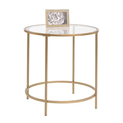 Sauder International Lux Round End Table in Satin Gold