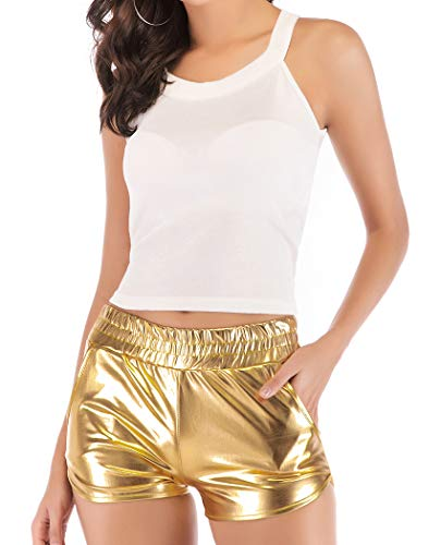 JANSION Women's Shiny MetallicBootyShortsDanceBottoms Yoga Outfit Hot Pants Clubwear