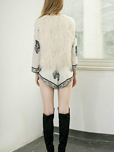 Simplee Outwear en Apparel Beige Fausse Veste Gilet Col fluffy Douche chaude Femme V Fourrure Casual Automne Manteau sans Manches Hiver OOqdIwr