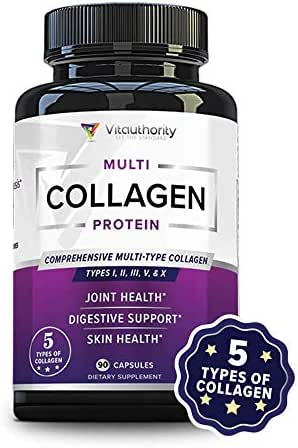 Multi Collagen Pills with Hyaluronic Acid & Vitamin C: Anti Aging Capsules with Hydrolyzed Collagen Protein Peptides from Grass-Fed Beef, Marine and More, Type I II III V X Keto Collagen Supplement