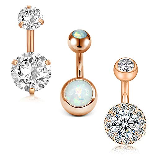 Belly Button Barbell Navel Ring - MODRSA 14G Stainless Steel Belly Button Rings for Women Girls Navel Barbell Stud CZ Body Piercing Rings 6mm Bar