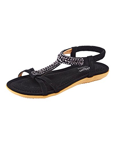 Cotton Traders Womens Ladies Cushioned Jewel Sandals Shoes E Fit Lightweight Black