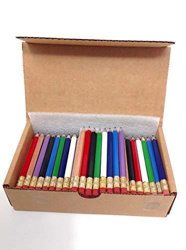 Beacon-Ridge Half Pencils with Eraser, Golf, Classroom, Pew, 2, Hexagon, Sharpened, Box of 144. Colors: Eight Mixed Classics