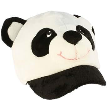 Winter Panda Bear Animal Fuzzy Plush Cadet Cap Hat