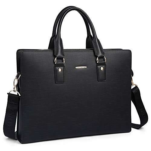 BOSTANTEN Leather Lawyers Briefcase Shoulder Laptop Business Slim Bags for Men & Women Black ()